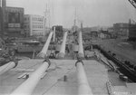 View from atop turret No. 2 of USS Iowa, looking forward, New York Navy Yard, New York, United States, 9 Jul 1943