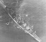 Aerial view of USS Iowa underway, 10 Jun 1944