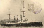 Armored cruiser Iwate as seen on a postcard commemorating the Russo-Japanese War
