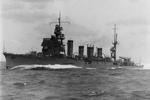 Light cruiser Jintsu during post-modernization trials, Kure, Japan, 13 Nov 1939