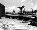 Kairyu-class submarines at Yokosuka Naval Base, Japan, Sep 1945, photo 1 of 2