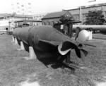 Kaiten Type 2 or Type 4 submarine on display at the Washington Navy Yard, DC, United States, 1974