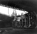 Damaged upper hangar deck of Katsuragi, Kure, Japan, 8 Oct 1945