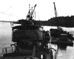Kikuzuki under salvage, focus on her forecastle
