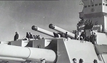 View of the forward turrets of HMS King George V while she was at Melbourne, Victoria, Australia, 29 Oct 1945