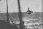 Kirishima and Takao underway, en route to the Guadalcanal area in the Solomon Islands, 14 Nov 1942; photograph taken from cruiser Atago part of which could be seen in foreground