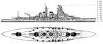 US Navy Office of Naval Intelligence drawing of the Kongo-class battleship, seen in publication ONI 222-J, Jun 1945