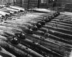 Koryu-class submarines, along with at least three other classes, at Kure Naval Arsenal, Japan, 19 Oct 1945, photo 2 of 2