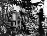 Control room of a Koryu type submarine, looking forward, Oct-Dec 1945, copied from the U.S. Naval Technical Mission to Japan Report S-01-7, Jan 1946, pg 117, fig 127; photo 3 of 3