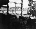 Koryu Type D submarines in an assembly shed at the Mitsubishi shipyard, Nagasaki, Japan, circa Sep 1945, photo 2 of 2