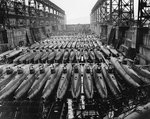 Koryu-class submarines, along with at least three other classes, at Kure Naval Arsenal, Japan, 19 Oct 1945, photo 1 of 2