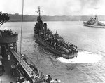 Destroyer USS Laffey (foreground) and cruiser USS Juneau in Luganville anchorage, Espiritu Santo, New Hebrides, 16 Sep 1942. Both ships arrived with survivors of the sunken USS Wasp (Wasp-class). Photo 1 of 3.