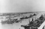 French cruiser La Motte-Picquet (only stern visible), USS Chaumont, and Italian cruiser Bartolomeo Colleoni at Shanghai, China, late May or early Jun 1939