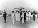 Ceremonies aboard French carrier La Fayette at Toulon, France, 11 Sep 1951, photo 1 of 2