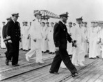 Ceremonies aboard French carrier La Fayette at Toulon, France, 11 Sep 1951, photo 2 of 2