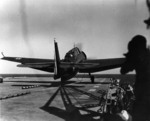 French TBM-3E Avenger aircraft preparing to be launched aboard carrier La Fayette, 1950s