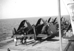 TBW-3W Avenger and F4U-7 Corsair aircraft aboard French carrier La Fayette, 1962, photo 1 of 2