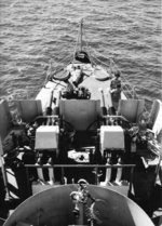 40mm Bofors mounts at the bow of French carrier La Fayette, 1962