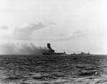Explosion amidships aboard USS Lexington, 1727 on 8 May 1942, photo 2 of 3