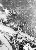 Survivors of USS Lexington rescued by a cruiser, Battle of Coral Sea, 8 May 1942