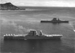 USS Saratoga (foreground) and USS Lexington (background) off Honolulu, Oahu, US Territory of Hawaii, with Diamond Head in the background, 2 Feb 1933