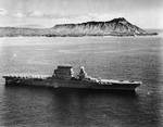 USS Lexington off Honolulu, Oahu, US Territory of Hawaii, with Diamond Head in the background, 2 Feb 1933