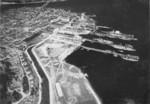 Aerial view of Puget Sound Naval Shipyard, Bremerton, Washington, United States, 1932; note USS Lexington, two battleships, three destroyers, and one auxiliary ship also in view