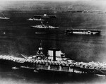 USS Saratoga (foreground), USS Langley (center), USS Lexington (background) and other warships off San Pedro, California, United States, 1930s