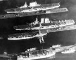 USS Lexington (top), USS Saratoga (center), and USS Langley (bottom) at Bremerton, Washington, United States, 1929