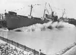 Launching of Liberty Ship SS John Stagg at the facilities of Delta Shipbuilding Company, New Orleans, Louisiana, United States, 7 Jul 1943
