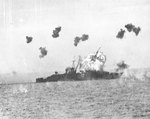 Louisville hit by Mitsubishi Ki-51 special attack aircraft, Lingayen Gulf, Philippine Islands, 6 Jan 1945