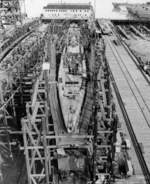 Tiru under construction at Mare Island Naval Shipyard, California, United States, 3 Jan 1946; submarines in background were Bashaw, Pampanito, Mingo, Gurnard, Macabi, Tunny, Guavina, and Sand Lance