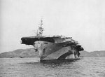 USS Makin Island at anchor at Kerama Retto, Ryukyu Islands, Japan, 31 Mar 1945
