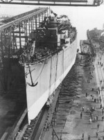 Marblehead being prepared for launching, William Cramp and Sons shipyard, Philadelphia, Pennsylvania, United States, 9 Oct 1923