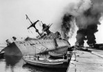 French cruiser Marseillaise afire and sinking, Toulon, France, late Nov 1942