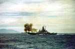 Battleship Indiana, battleship Massachusetts, and cruiser Quincy bombarding Kamaishi, Iwate, Japan, 14 Jul 1945