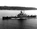 Battleship Massachusetts underway at 15 knots off Point Wilson, Washington, United States, 11 Jul 1944