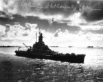 Battleship Massachusetts sailing into Ulithi anchorage in the Caroline Islands, 24 Nov 1944; note autograph of Chester Nimitz
