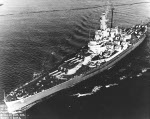 Battleship Massachusetts underway at 6 knots in Puget Sound, Washington, United States after her final overhaul, 22 Jan 1946