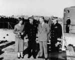 Elizabeth Murphy, Fleet Admiral Chester Nimitz, Harry Murphy, and Rear Admiral L. S. Fiske at the recommissioning ceremony of USS Menhaden, Mare Island Naval Shipyard, California, United States, 9 Mar 1953