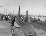 Submarines Pomodon and Menhaden at Mare Island Naval Shipyard, California, United States, 18 Sep 1954