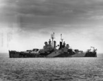 USS Miami at Trinidad, British West Indies during her shakedown cruise, 19 Feb 1944; note worn Camouflage Measure 32 Design 1d