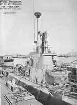 USS Mingo at Mare Island Naval Shipyard, California, United States, Jul 1945; circles on photograph denoted additions done during this overhaul