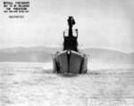 Bow view of USS Mingo, off Mare Island Naval Shipyard, California, United States, 3 Feb 1944