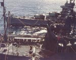 USS Minneapolis being refueled at sea in the Marshall Islands area, Jan 1944