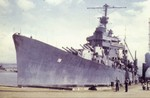 USS Minneapolis at Pearl Harbor, US Territory of Hawaii after being fitted with a new bow, 11 Apr 1943, photo 1 of 2