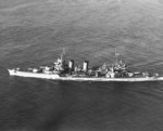Minneapolis underway, 9 Nov 1943; note camouflage meant to disguise her as a destroyer