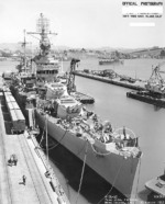 Minneapolis at Mare Island Navy Yard, California, US upon completion of overhaul and repairs, 30 Aug 1943; note SK-1 radar and gun directors on foremast and bridge, and fake windows pilothouse