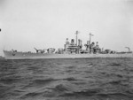 Light cruiser Montpelier off Philadelphia Navy Yard, Pennsylvania, United States, early Dec 1942