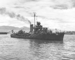 Mugford at Pearl Harbor while being prepared for use as a target for the Operation Crossroads atomic bomb tests, 14 May 1946, photo 1 of 2